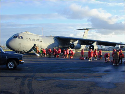 Boarding C-141 in Christchurch, New Zealand