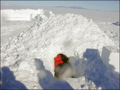 Digging out the snow shelter