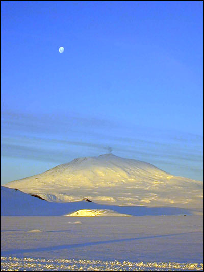 Moon over Mt. Erebus