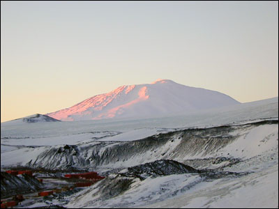Mt. Erebus bathed in sunset