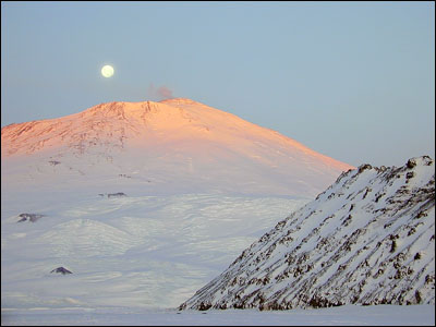 Full moon over Mt. Erebus