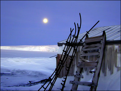 Moon over the Barne Glacier and Cape Evans hut