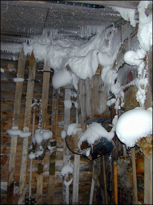 Snow inside the hut at Cape Evans