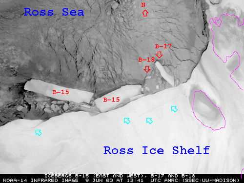 Satellite photo showing the B-15 iceberg broken in half