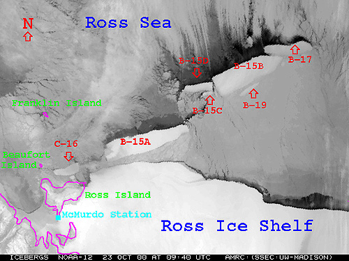 Satellite photo showing all of the B-15 icebergs as  												 well as the new B-16 iceberg
