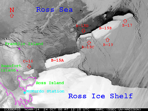 Satellite photo showing the position of the  															 icebergs as of 24 October 2000