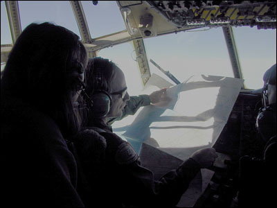 In the cockpit of the C-130