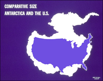 Comparative size between Antarctica & the U.S.