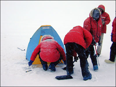 Erecting a tent on the sea ice