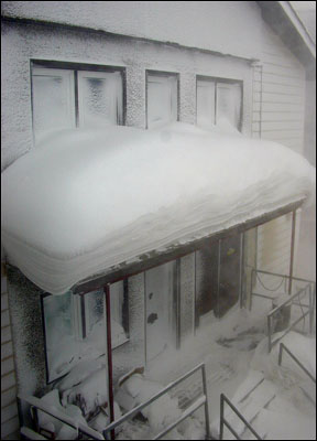 Snow on the porch roof
