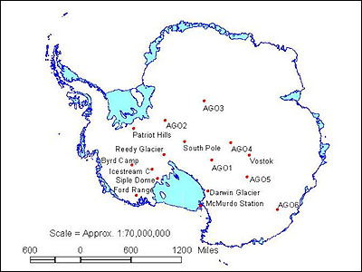 Map showing major field camps in Antarctica