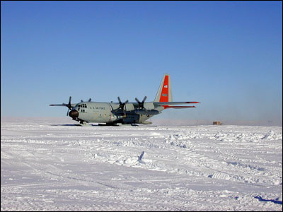 C-130 landing on skis at Byrd Camp